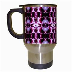 Purple White Flower Abstract Pattern Travel Mugs (white) by Costasonlineshop