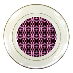 Purple White Flower Abstract Pattern Porcelain Plates
