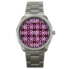 Purple White Flower Abstract Pattern Sport Metal Watches by Costasonlineshop