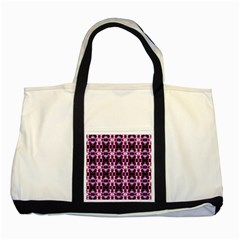 Purple White Flower Abstract Pattern Two Tone Tote Bag