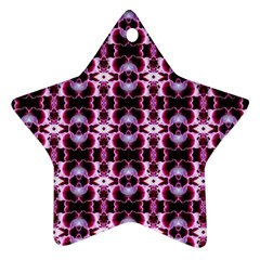 Purple White Flower Abstract Pattern Star Ornament (two Sides)  by Costasonlineshop