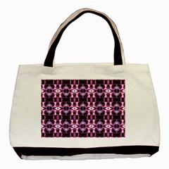Purple White Flower Abstract Pattern Basic Tote Bag (two Sides)