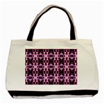 Purple White Flower Abstract Pattern Basic Tote Bag (Two Sides)  Back