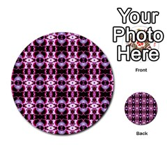 Purple White Flower Abstract Pattern Multi Purpose Cards (round)  by Costasonlineshop