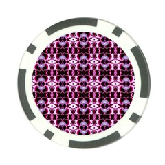 Purple White Flower Abstract Pattern Poker Chip Card Guards (10 Pack)  by Costasonlineshop