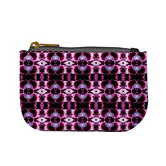 Purple White Flower Abstract Pattern Mini Coin Purses by Costasonlineshop