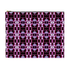 Purple White Flower Abstract Pattern Cosmetic Bag (xl) by Costasonlineshop