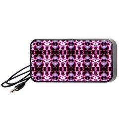 Purple White Flower Abstract Pattern Portable Speaker (black)  by Costasonlineshop