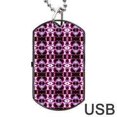 Purple White Flower Abstract Pattern Dog Tag Usb Flash (one Side) by Costasonlineshop