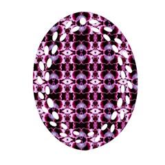 Purple White Flower Abstract Pattern Oval Filigree Ornament (2 Side)  by Costasonlineshop