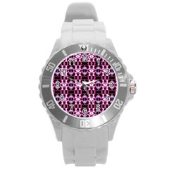 Purple White Flower Abstract Pattern Round Plastic Sport Watch (l)