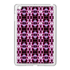 Purple White Flower Abstract Pattern Apple Ipad Mini Case (white) by Costasonlineshop