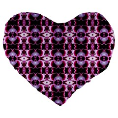 Purple White Flower Abstract Pattern Large 19  Premium Heart Shape Cushions by Costasonlineshop