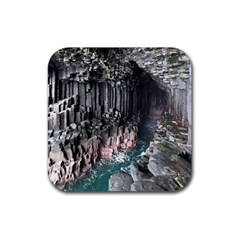 Fingals Cave Rubber Square Coaster (4 Pack)  by trendistuff