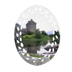 Scotland Eilean Donan Ornament (oval Filigree)  by trendistuff