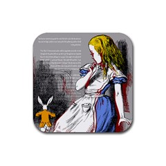 Alice In Wonderland Rubber Square Coaster (4 Pack)  by waywardmuse
