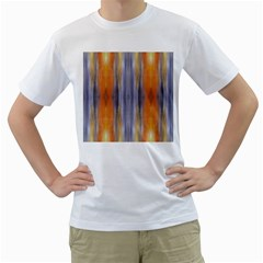 Gray Orange Stripes Painting Men s T Shirt (white) (two Sided) by Costasonlineshop