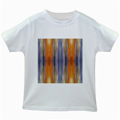 Gray Orange Stripes Painting Kids White T Shirts by Costasonlineshop