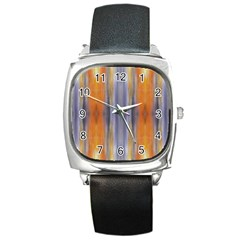 Gray Orange Stripes Painting Square Metal Watches by Costasonlineshop