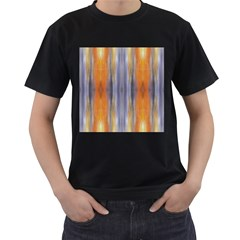 Gray Orange Stripes Painting Men s T Shirt (black) (two Sided) by Costasonlineshop