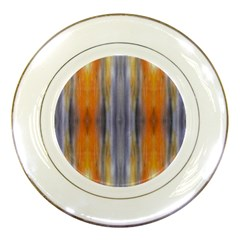 Gray Orange Stripes Painting Porcelain Plates by Costasonlineshop