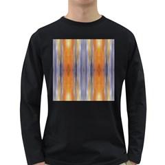 Gray Orange Stripes Painting Long Sleeve Dark T Shirts by Costasonlineshop