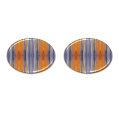 Gray Orange Stripes Painting Cufflinks (oval) by Costasonlineshop