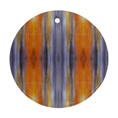 Gray Orange Stripes Painting Round Ornament (two Sides)