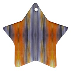 Gray Orange Stripes Painting Star Ornament (Two Sides)  by Costasonlineshop