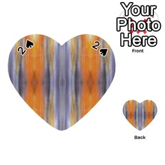 Gray Orange Stripes Painting Playing Cards 54 (heart)  by Costasonlineshop