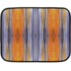 Gray Orange Stripes Painting Double Sided Fleece Blanket (mini)  by Costasonlineshop