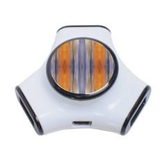 Gray Orange Stripes Painting 3-Port USB Hub by Costasonlineshop