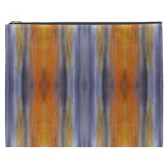 Gray Orange Stripes Painting Cosmetic Bag (XXXL)  by Costasonlineshop