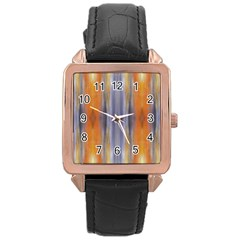 Gray Orange Stripes Painting Rose Gold Watches by Costasonlineshop