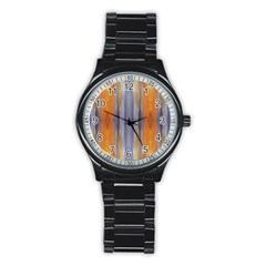 Gray Orange Stripes Painting Stainless Steel Round Watches