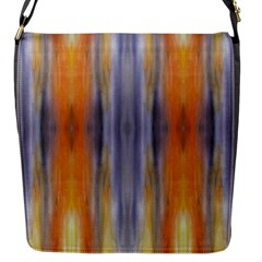 Gray Orange Stripes Painting Flap Messenger Bag (s) by Costasonlineshop
