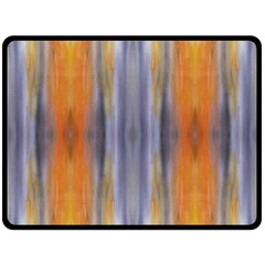 Gray Orange Stripes Painting Double Sided Fleece Blanket (Large)  by Costasonlineshop