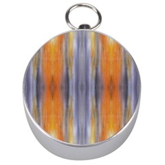 Gray Orange Stripes Painting Silver Compasses by Costasonlineshop