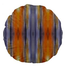 Gray Orange Stripes Painting Large 18  Premium Flano Round Cushions