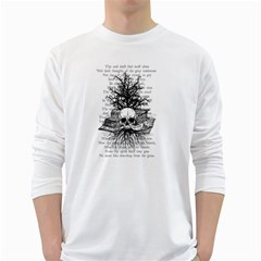 Skull & Books White Long Sleeve T Shirts