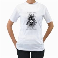 Skull & Books Women s T Shirt (white)  by waywardmuse