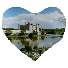 Leeds Castle Large 19  Premium Flano Heart Shape Cushions by trendistuff