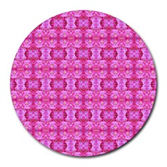 Pretty Pink Flower Pattern Round Mousepads