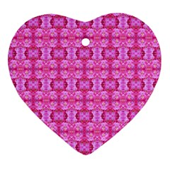Pretty Pink Flower Pattern Ornament (heart)  by Costasonlineshop