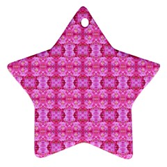 Pretty Pink Flower Pattern Ornament (Star)  by Costasonlineshop
