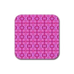 Pretty Pink Flower Pattern Rubber Square Coaster (4 Pack)  by Costasonlineshop