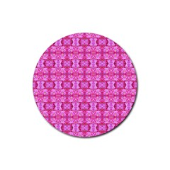 Pretty Pink Flower Pattern Rubber Round Coaster (4 Pack)  by Costasonlineshop