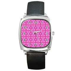 Pretty Pink Flower Pattern Square Metal Watches by Costasonlineshop