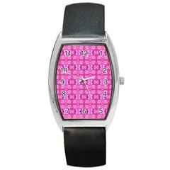 Pretty Pink Flower Pattern Barrel Metal Watches by Costasonlineshop