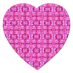 Pretty Pink Flower Pattern Jigsaw Puzzle (Heart) by Costasonlineshop